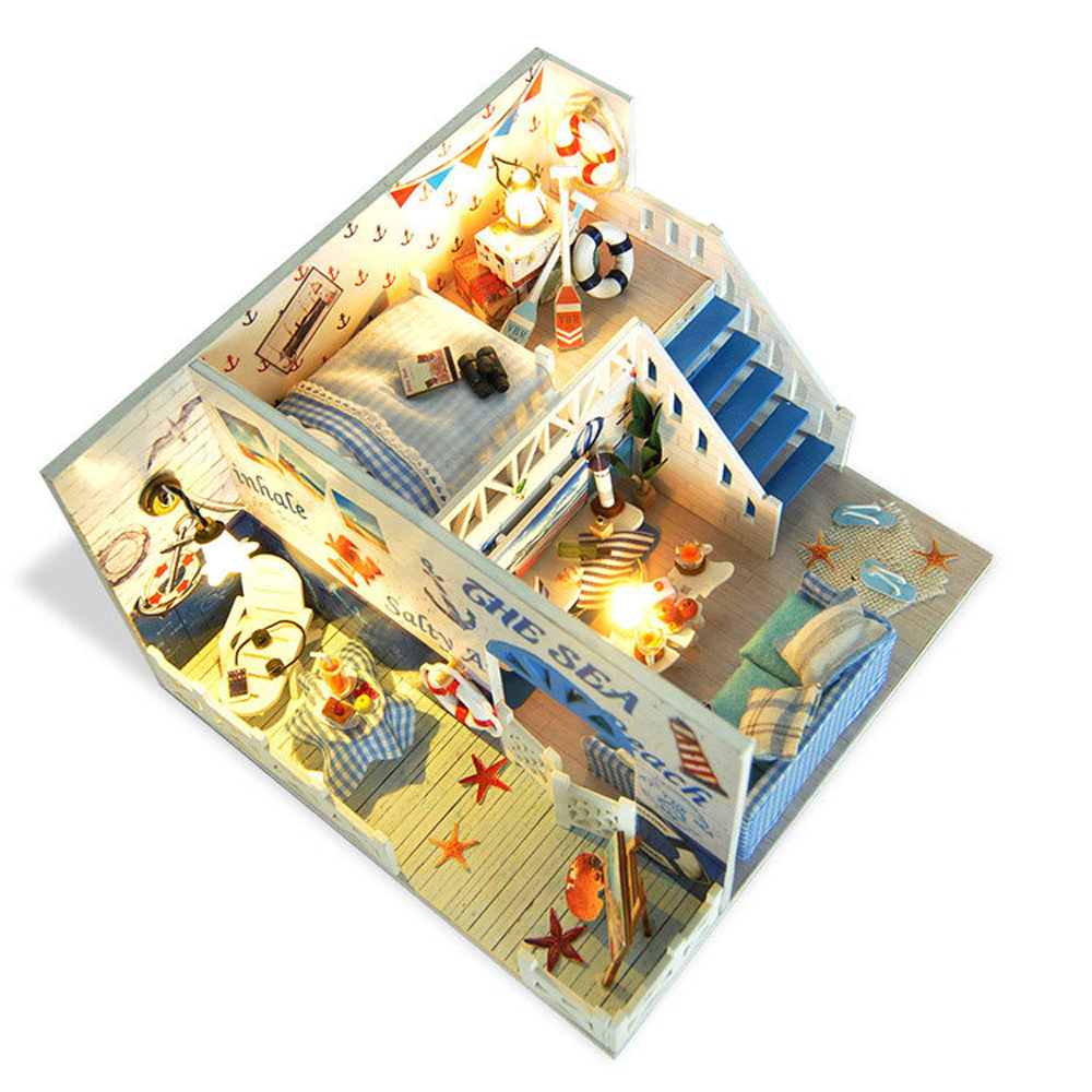 Miniature Ocean Love Dollhouse Handmade House Model Furniture Kits DIY Wooden Dolls House With LED Lights And Dust Cover