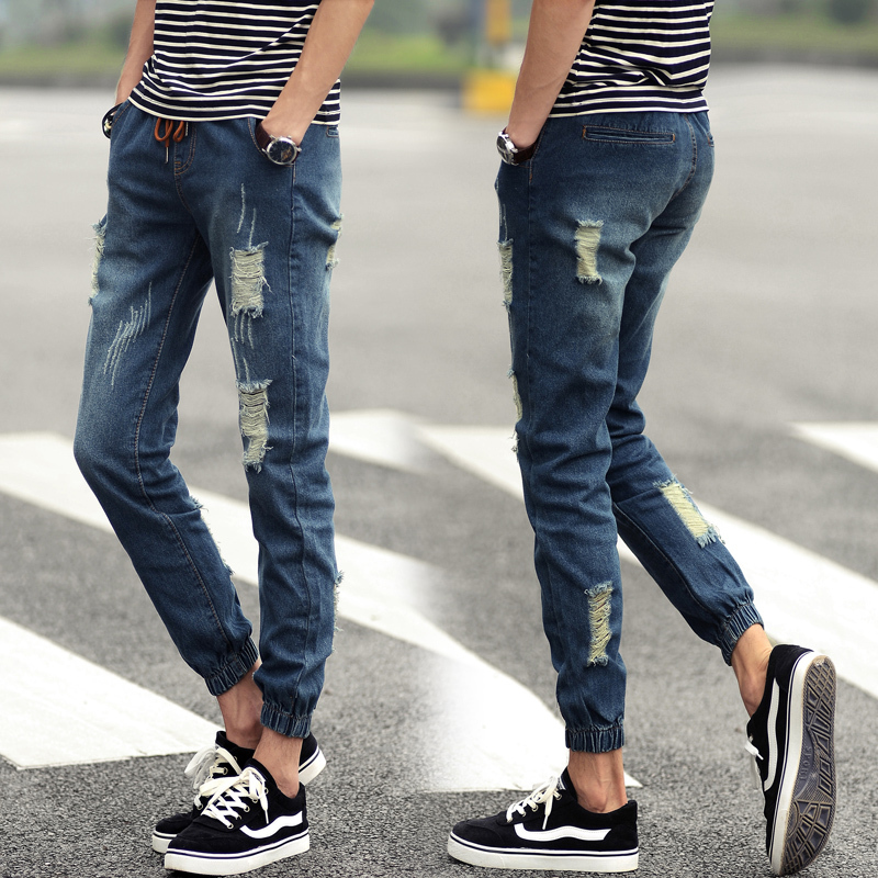 Summer Style Men Jeans Fashion New 2015 Denim Joggers Quality Mid Waist Simple All Match Ripped