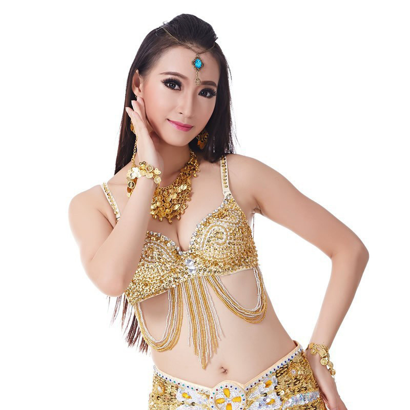 2016 Top Grade Cheap Sexy Gold Belly Dance Bra for Women Belly Dancing Costume Bras Top on Sale