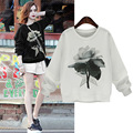 Hoodies Sweatshirts Women 2016 Autumn Winter New Flower Print Casual Loose Thin Long Sleeve Girl Sweatshirts Tops