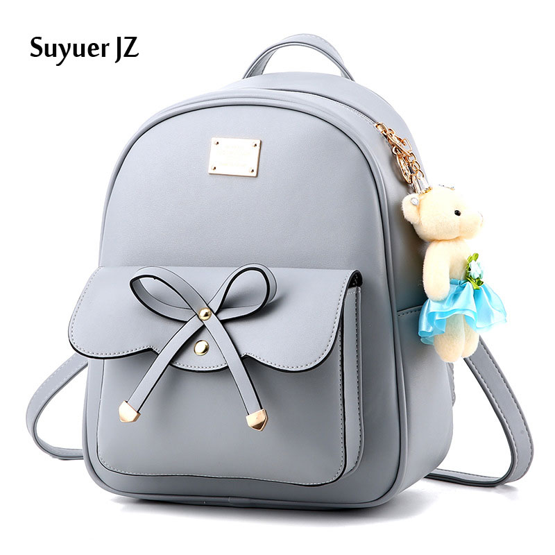 2017 Suyuer JZ Preppy Style Women Bow tie Schoolbag Bookbag Backpack Ladies Vintage Solid Color Shoulder