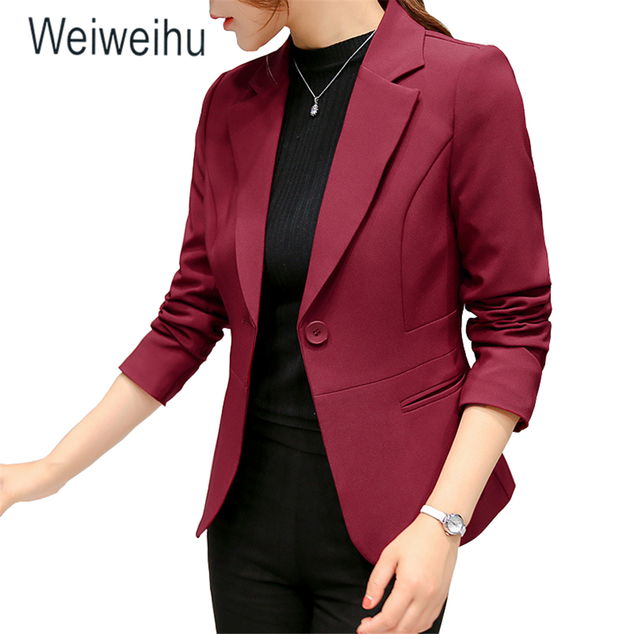 Suit Blazer Jacket Coat Tops Long-Sleeve One-Button Female Pink Office Lady Femme Slim title=