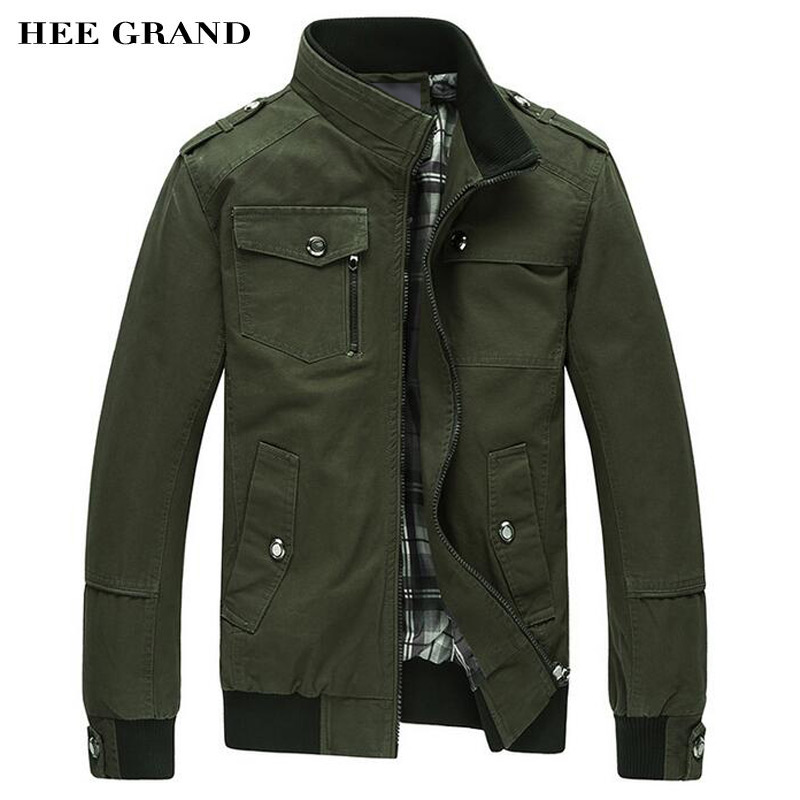 HEE GRAND Men s Jacket 2017 Hot Sale Whole Cotton Casual Stand Collar Autumn Outwear With