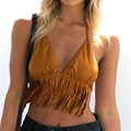 2017 Summer Women Sexy Tank Tops Ladies Casual Vintage Suede Tassel Crop Tops Sleeveless Backless Blusas Shirts Plus Size