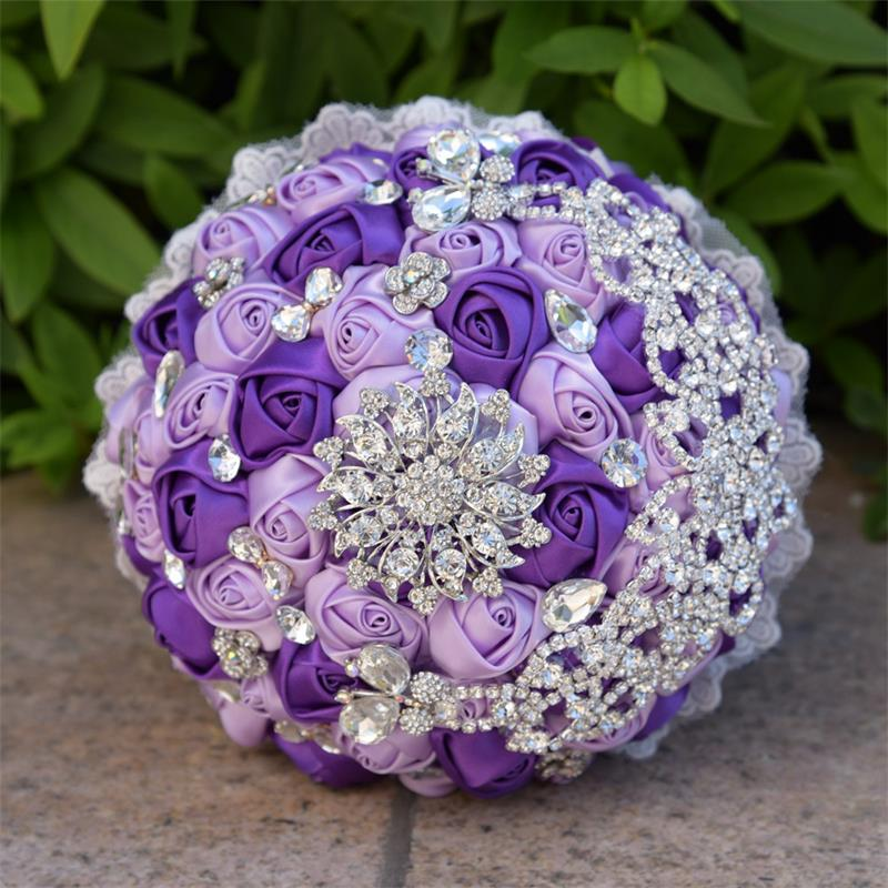 Wedding Bouquet Crystal Flowers: New Purple And Light Purple Artificial Flowers Bouquets