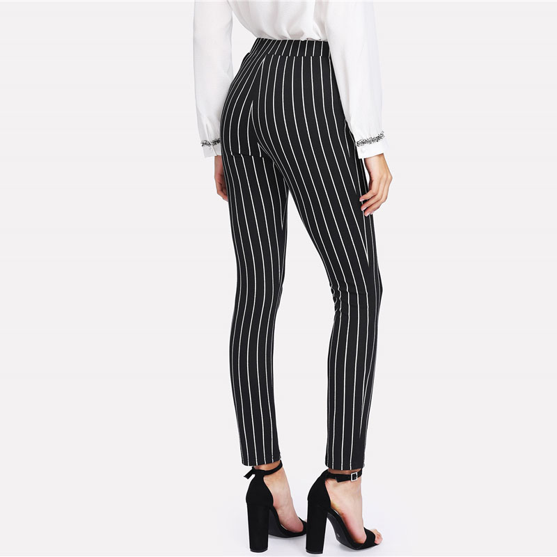 SHEIN Vertical Striped Skinny Pants Women Elastic Waist Pocket OL Style Work Trousers 18 Spring Mid Waist Long Pencil Pants 11