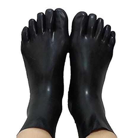 Unisex Latex Fetish Sock Rubber 5 Toes Socks Short Sock Skin Toes Size S,M,L(China)