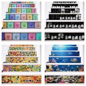 Image 1 - カラフルな引き出しモザイクブルーシーワールド黒、白靴階段の壁のステッカー DIY ステップステッカー壁デカール壁画壁紙 2019