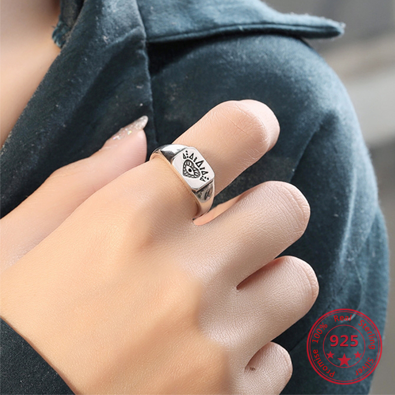 2019 Hot Sale 925 Silver Retro Vintage Heart Open Rings India Jewelry For Women