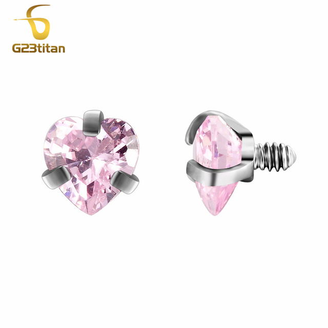 G23titan Body Piercing Ball 16G Internally Threaded Heart Style Lip Eyebrow Tongue Belly Navel Ring Body Jewelry Piercing Parts 5
