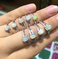 Natural Oval Opal Stone Solid Silver 925 Ring Women Set Zirconia Band Real 925 Sterling Silver Natural Fire Stone Jewelry Female