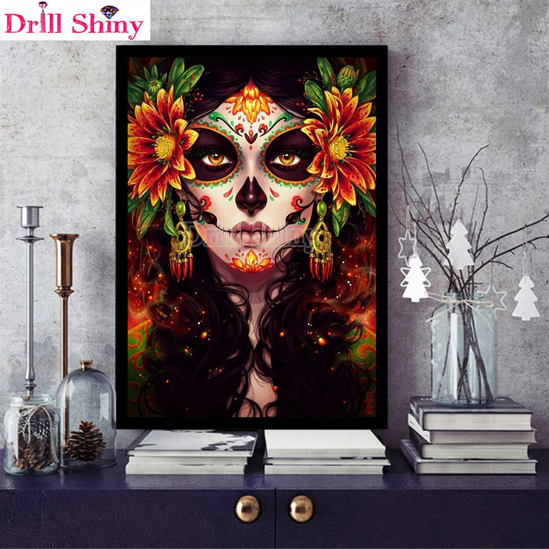 FULL DRILL 40 X 30 CM DIAMOND PAINTING GREEN BAY PACKERS SKULL- IN CHINA