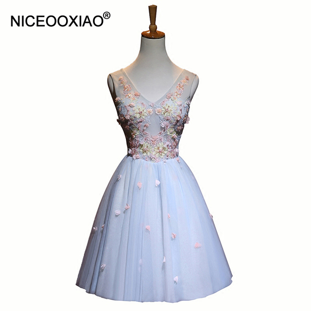 31361c2601cd NICEOOXIAO 2018 Lady's Cocktail Dresses Sweet V Neck Sleeveless Ball Gown  Short Elegant Party Formal Gowns Robe De Soiree