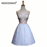 NICEOOXIAO 2018 Lady's Cocktail Dresses Sweet V Neck Sleeveless Ball Gown Short Elegant Party Formal Gowns Robe De Soiree