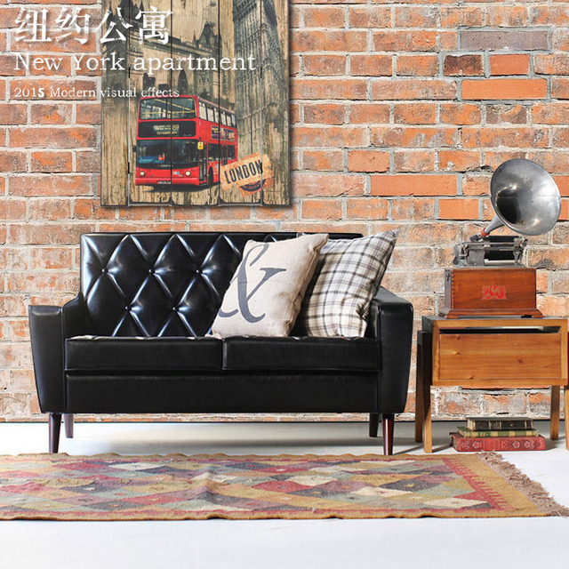 American Country Retro Leather Sofa Net Cafe Casual Three Single Or