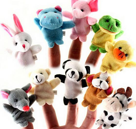 10pcs Set New Brand Finger Soft Toy Zoo Farm Animal Plush Hand