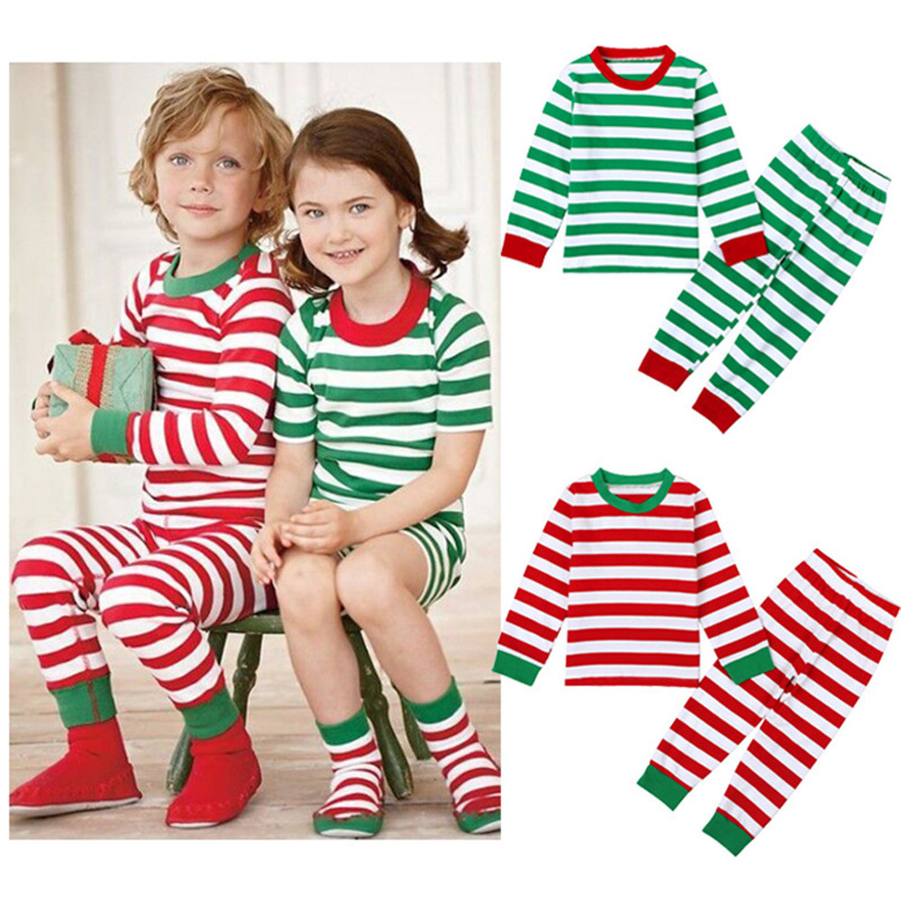 Cosplay Christmas kids red green striped pajamas tops / pant set children Santa Claus Elf Pajamas home service Christmas costume