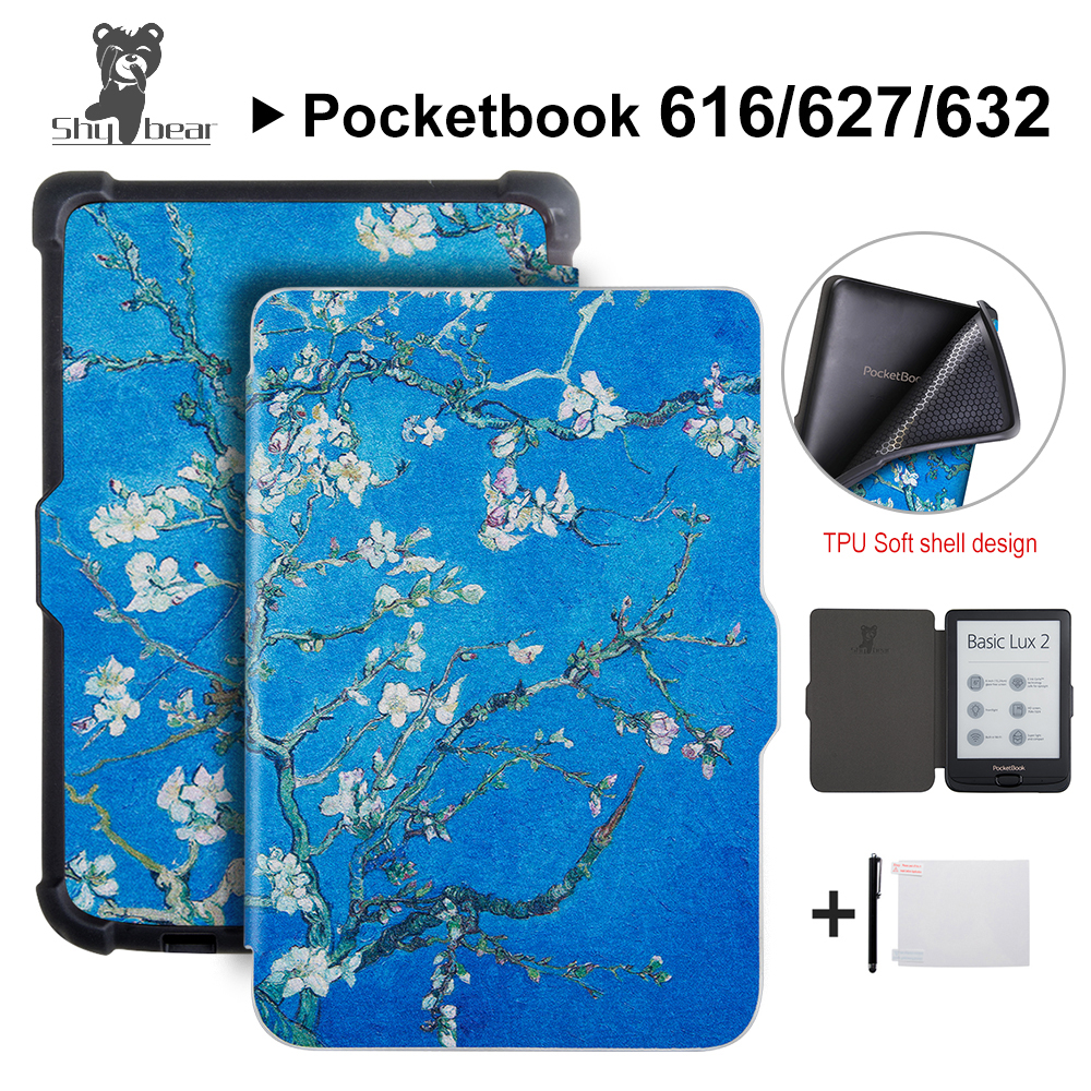 Shy Bear Slim Case for Pocketbook 616/627/632 Touch Lux4 Ereader Cover Case for Pocketbook touch HD 3/ Basic Lux 2 Ebook +gift e reader case for pocketbook touch hd case cover coque shell funda hulle custodie