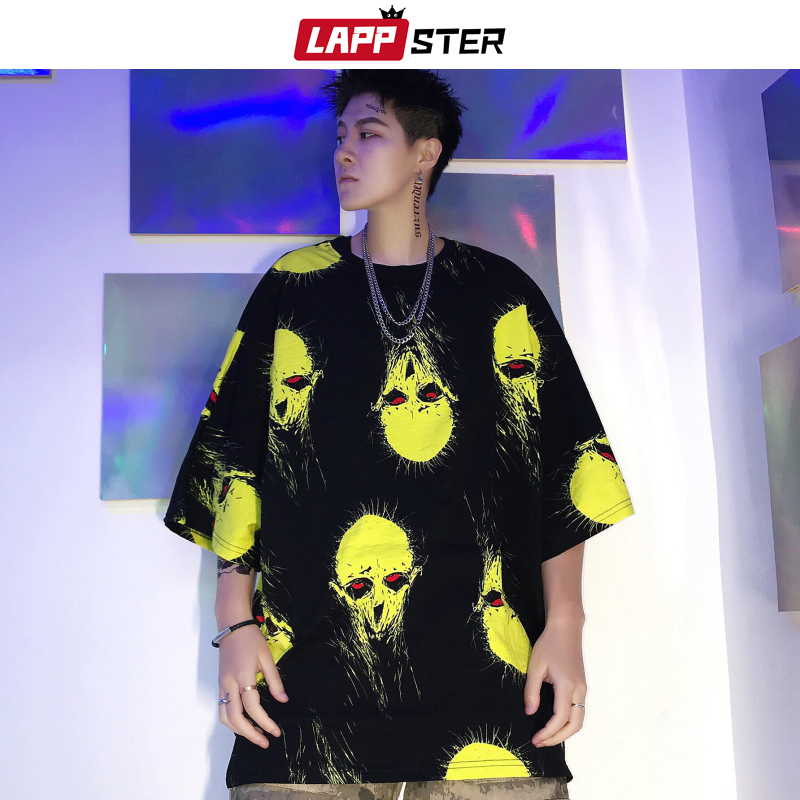 LAPPSTER Alien Funny T Shirt Harajuku 2020 Summer Top Men Streetwear Hip Hop Oversized T-shirt Designer O-neck Red Tees Fashions