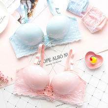 Wasteheart 2018 New Women Fashion Pink Blue Lace Bow Adjustable Straps Bralette Panties Push Up Bra Set Underwear Sexy Lingerie