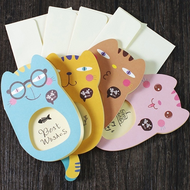 Cute Cat Shape Birthday Card Cute Birthday Card Blessing Card3pcs