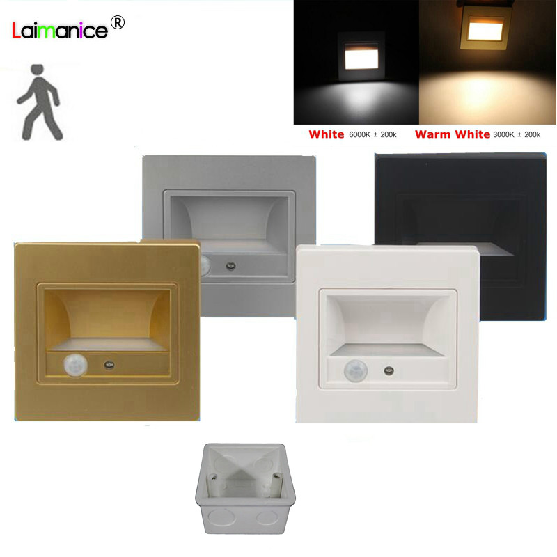 10pcs lot 1 5W Recessed LED Stair Light Indoor Light PIR Motion Sensor led Steps Ladder