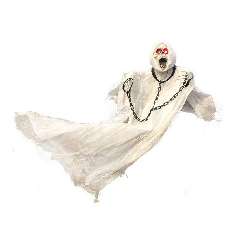 36 polegada 90cm de altura branco halloween decoração pendurado fantasma com corrente iluminar os olhos som e sensor para halloween adereços