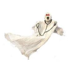 36inch 90cm גבוה לבן ליל כל הקדושים קישוט תליית רפאים עם שרשרת להאיר עיני צליל חיישן עבור ליל כל הקדושים אבזרי