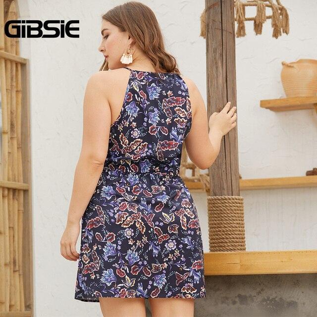 GIBSIE Plus Size Tie Neck Print Bodycon Short Dress For Women 2019 Summer Casual Pocket Sleeveless Halter Mini Dresses 2