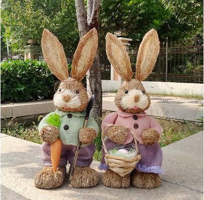 High 45cm, соломенный кролик. Мори Имитация животных декоративный Пасхальный кролик украшения свадебные съемки реквизит, окно
