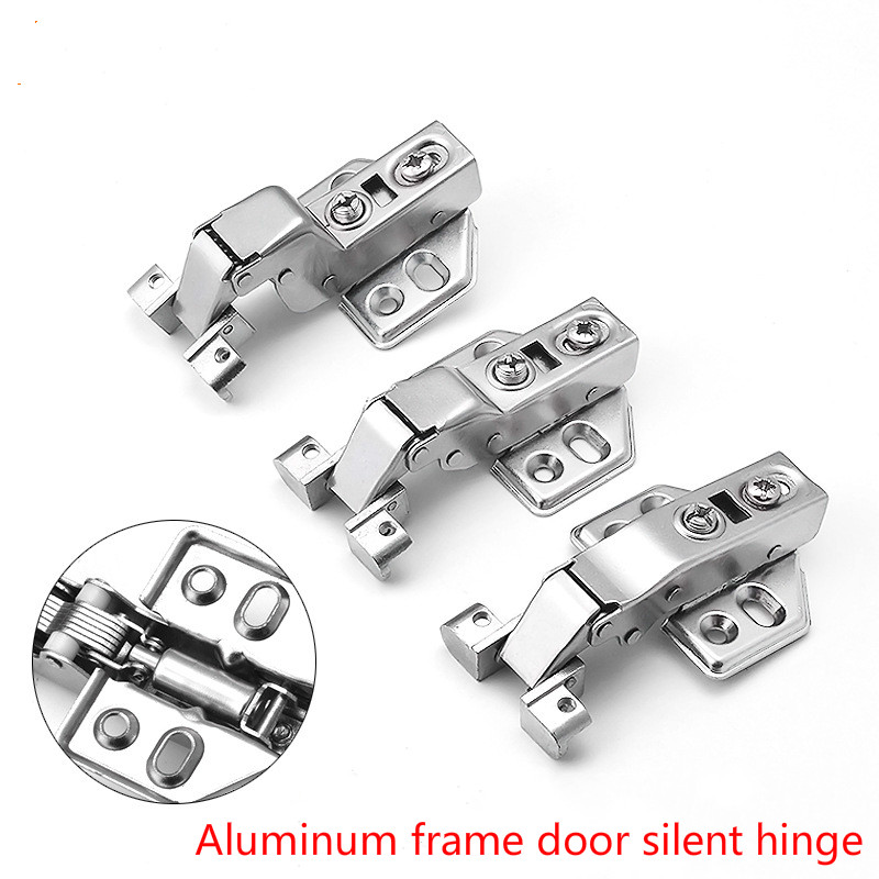 Hardware Aluminum Frame Glass Door with Built-in Damping Hydraulic Buffer Mute Alloy Aircraft Base Cold Rolled Steel Hinge