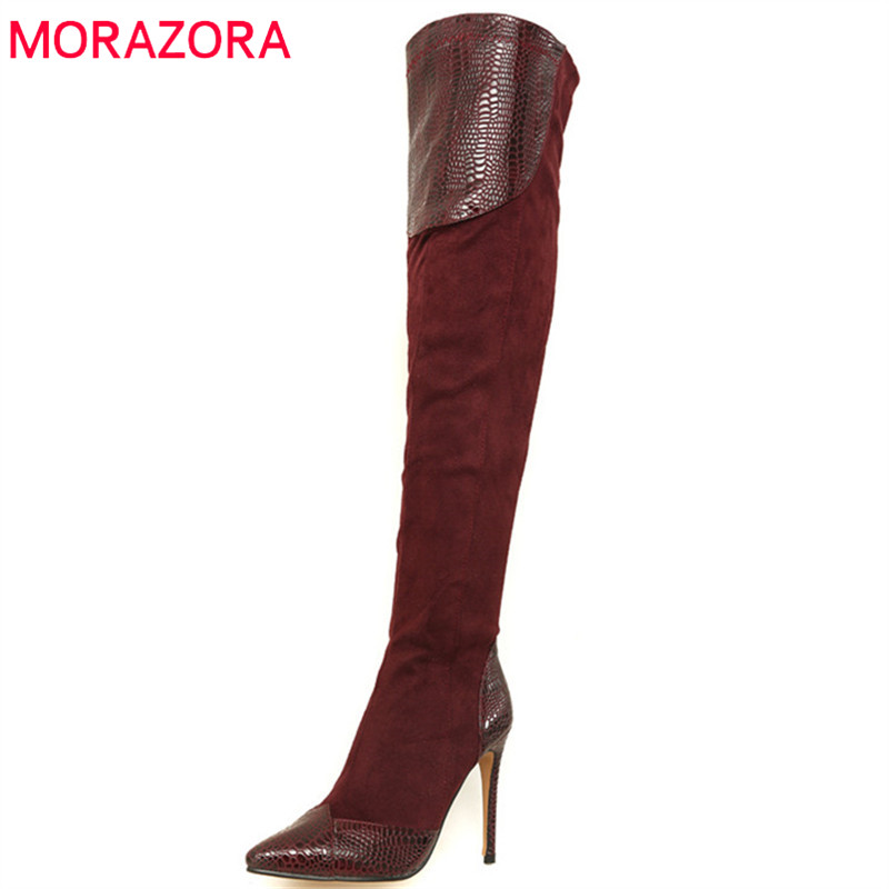 MORAZORA 2018 big size 33-46 over the knee boots women flock sexy thigh high boots high heels shoes pointed toe autumn boots стоимость