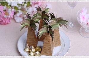 Image 3 - 100pcs/lot Wedding Favor Coconut Palm Tree Box Baby Shower Souvenirs DIY Wedding Palm Candy Box for Wedding Decoration