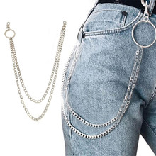 1PC Long Trousers Hipster Key Chains Punk Street Big Ring Key Chain Metal Wallet Belt Chain Pant Keychain Unisex HipHop Jewelry(China)
