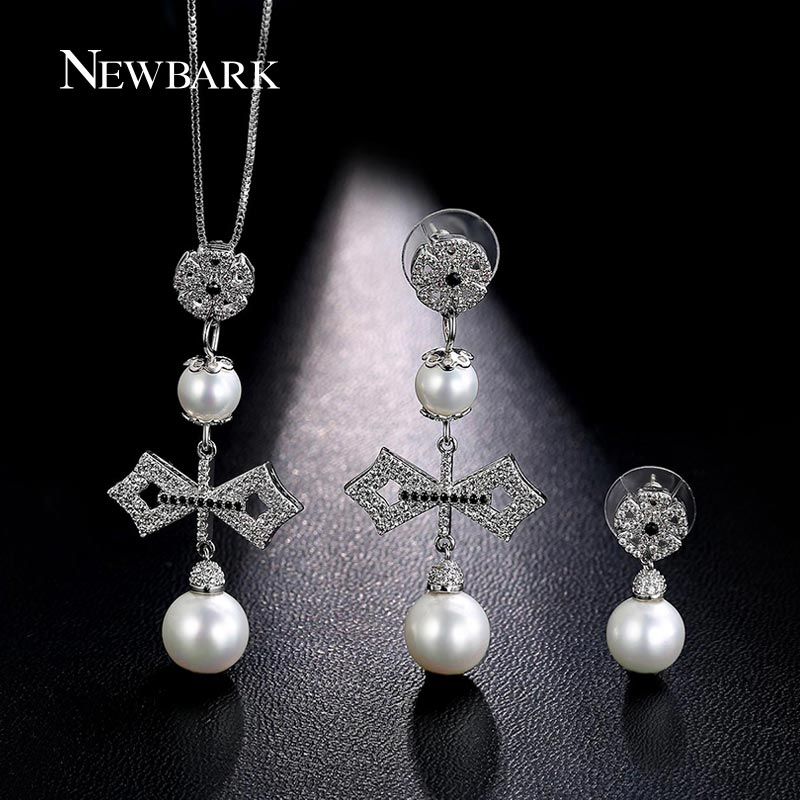 font b NEWBARK b font White Gold Plated Jewelry Sets font b Necklace b font