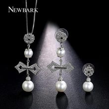 NEWBARK Retro Simulated Pearl Bowknot Necklace Earring Sets Silver Color Cubic Zirconia Pendant Necklace And Earring