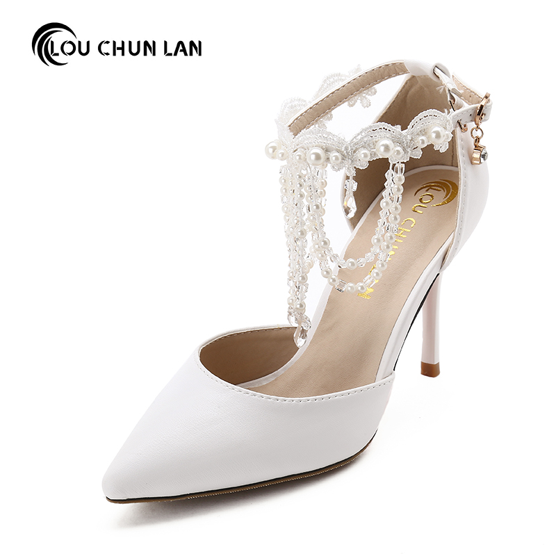 White crystal wristband Wedding Shoes ultra High Heels thin Heels tassel Shoes Bridal Shoes new arrival Women's Shoes sandals