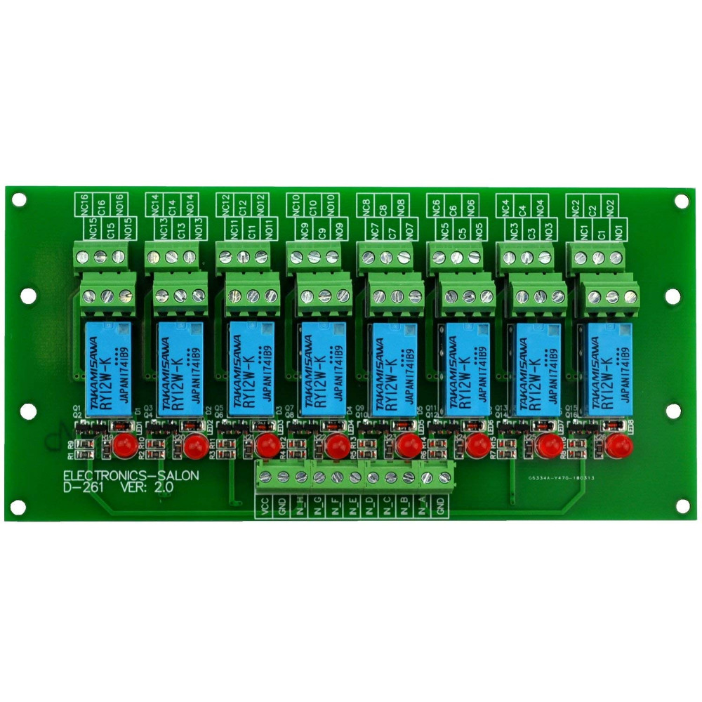 Electronics-Salon 8 Channel DPDT Signal Relay Module Board (Operating Voltage: DC 12V)Electronics-Salon 8 Channel DPDT Signal Relay Module Board (Operating Voltage: DC 12V)