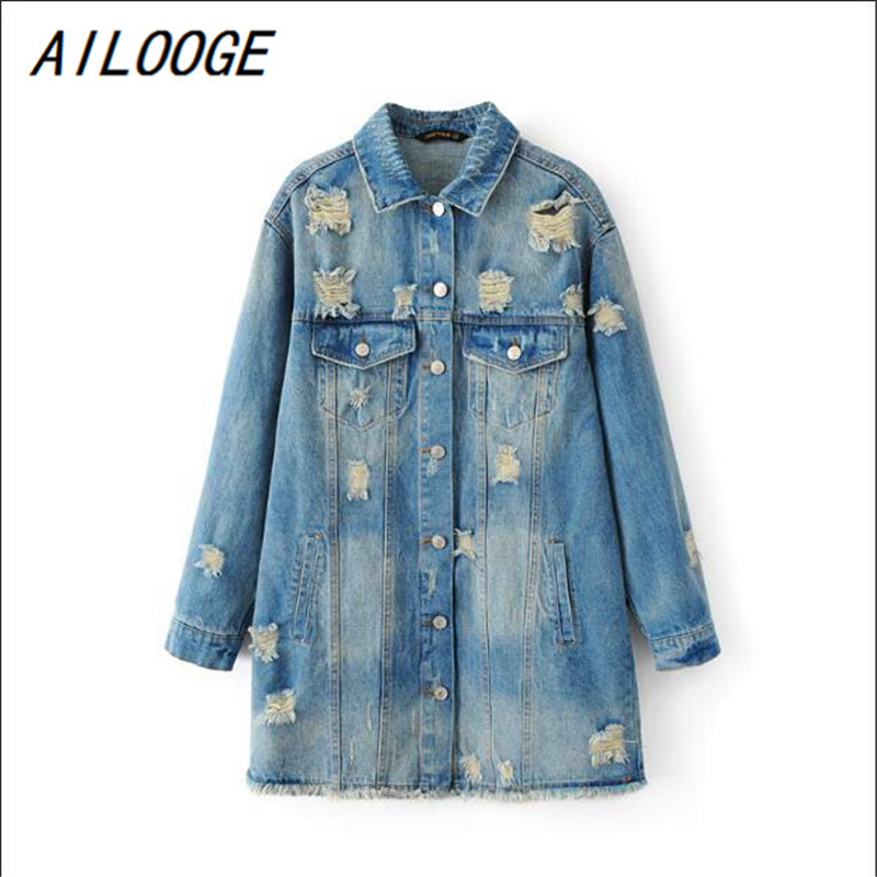 AILOOGE 2017 Long Sleeve Back Embroidery Flowers Denim   Jacket   Spring Vintage Women   Basic     Jacket   Coats New Fashion Streetwear