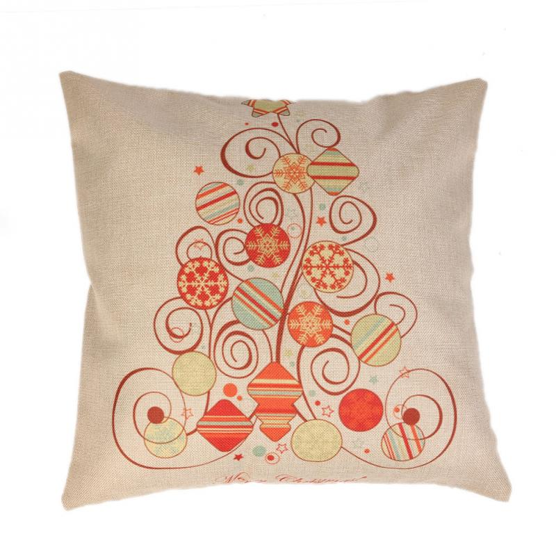 Christmas Xmas Linen Cushion Cover Throw Pillow Case Home: Decorative Throw Pillows Linen Christmas Pillow Case
