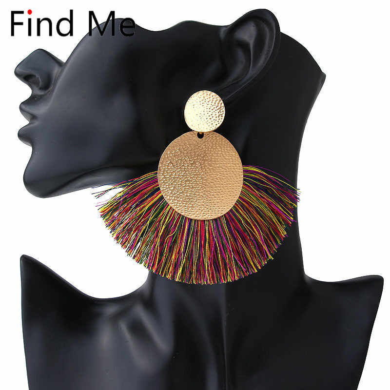 تجد لي 2019 جديد أزياء خمر النسيج طويل الشرابة إسقاط أقراط للنساء مجوهرات هندسية رقاقة استرخى أقراط بالجملة