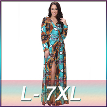 Women V Neck Long Wrap Dresses Fall Vintage Geometric Print Open Fork Split With Belt Maxi Dress L-7XL Plus Size Vestido Longo