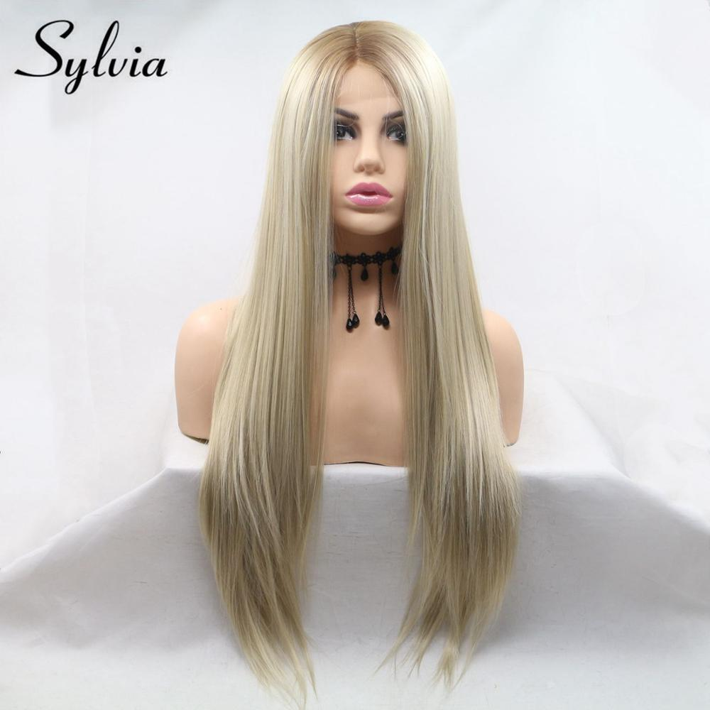 Sylvia Wig U Part Lace Front Blonde Wig Heat Resistant Hair Ombre Synthetic Straight Wig Brown Root Side Part Long Wig For Women