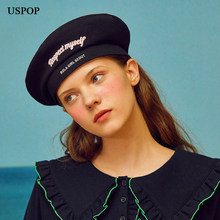 2fa097a3cc215 USPOP 2018 New women berets letter embroidery beret female adjustable long  ribbon berets polar fleece winter warm hats