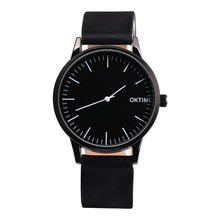 Бизнес пара кварцевые часы черный лицо простой кожаный ремешок часы Повседневное любителей моды студенты платье часы Relogio Saat