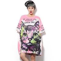 2016 New Fashion Harajuku Pink Letters T Shirt For Women Cat Printing T Shirt Loose Tee