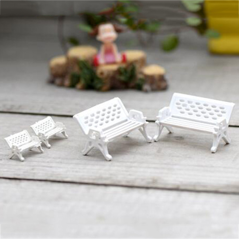 2Pcs White Chair Bench Seat Miniatures Lovely Cute Micro Landscape Garden Fairy Gnome Moss Terrarium Decoration Crafts DIY Decor