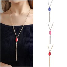 3 Colors 2018 New Fashion Bijoux Crystal Necklace Pendant Gold Silver Color Tassel Necklaces for Women Party Cloth Accessories(China)