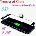 3d superficie curva para samsung galaxy s7 edge protectores de pantalla completa 9 h dureza 0.3mm templado película de vidrio a prueba de explosiones