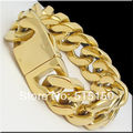 "155G Heavy MEN`S 316L STAINLESS STEEL CUBAN CURB LINK CHAIN GOLD BRACELET BANGLE (9""x 20mm)"